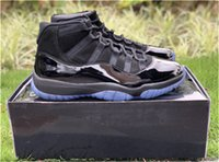 Wholesale carbon fiber shoes - 2018 Release Cap And Gown 11 Prom Night Blackout 11S Basketball Shoes Men Authentic Real Carbon Fiber Sports Sneakers With Box 378037-005