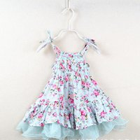Wholesale girls pure cotton flowered dresses - Girls Vest Floral Dress Suspender Small Flowers Jacobs Matching Pure Cotton Princess Dress Summer Breathable Cool Kids Skirt 2-6T