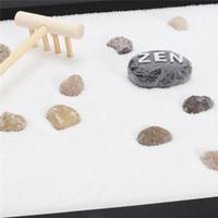 ingrosso decorazione domestica zen-Halloween Natale moderno Zen Garden Sand Kit Ripiano da tavolo Yoga Meditazione Rocce di sabbia Rastrello Feng Shui Decorazioni artigianali per la casa