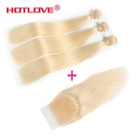 Wholesale Human Hair Wholesale Companies - HOTLOVE Company Brazilian Virgin Hair Straight With Closure 100% Human Hair 3 Bundles With 4x4 Lace Closure with Baby Hair 613 Blonde