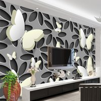 ingrosso abstract di farfalla-Carta da parati personalizzata Murales 3D Stereoscopico Farfalla Fiori Murale Carta da parati moderna Abstract Art Rivestimento murale Soggiorno TV