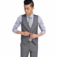 Wholesale wedding suit grey waistcoat - POPULAr Men Suit Vest Classic V Collar Slim Fit Wedding Waistcoat Mens Formal Slim Sleeveless Vest Men Front Grey Back Black