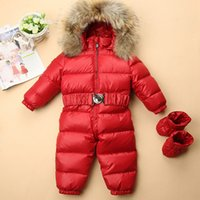 Wholesale hooded infant wears for sale - Group buy 2018 New Russian winter baby snowsuit duck down jacket for girls coats Winter Park for infant boy snowsuit snow wear