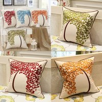 Wholesale modern green pillow - Wholesale Pure cotton embroidery Cushion Cover Decorative Pillowcase Home Decor Sofa Throw Pillow Cover simple and modern