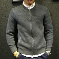ingrosso abiti adolescenti invernali-Giacca maglione per uomo Inverno Nuovo autunno Teenage Boy Cardigan Capispalla a maglia Slim maschile Abbigliamento da baseball Zipper Moda di alta qualità