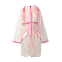 weißer kapuzengraben großhandel-Schicker PVC-Mantel-Frauen-weißer rosa Patchwork-transparenter Plastikregenmantel-lange Hülsen-Taschen-Herbst-mit Kapuze Designer-Trenchcoats
