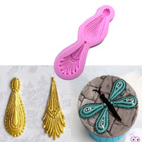 Wholesale Lace Molds - 1PCS Cake Silicone Mold Peacock Feather 3D Lace pattern Decorating Tools cooking Baking molds