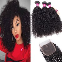 Wholesale malaysia curly indian human hair for sale - Group buy 8A Brazilian Hair Body Straight Loose Wave Kinky Curly Bundles With Closure Natural Color Peruvian Malaysia Indian Virgin Human Hair Weave