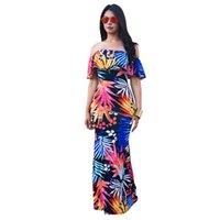 en iyi yaz maxi elbiseleri toptan satış-Perakende Toptan Şık Casual Sweety Yaz Çiçek Baskı Bodycon Elbiseler Off-omuz Fırfır Katmanlı Maxi Boho Elbise