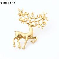 Wholesale reindeer brooch - VIVILADY New Fashion Matte Gold Color Reindeer Brooches Pins For Women Girl Lady Bijoux Accessory Costume Birthday Jewelry Gift