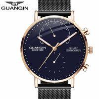 Wholesale Guanqin Watches - New GUANQIN Mens Watches Top Brand Luxury Chronograph Luminous Hands Clock Men Business Casual Creative Mesh Strap Quartz Watch