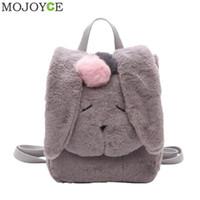 Wholesale winter women dresses korean fashion - Women Rabbit Shaped Backpack Korean Cute Plush Winter Backpack Fashion Leisure Backpacks for Teenagers Girls Women Rucksack New