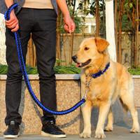 naylon zincir köpek yaka toptan satış-Yüksek Kalite Ayarlanabilir Büyük Köpekler Için Naylon Köpek Yaka Tasma Seti Yumuşak Yaka Pet Endure Bite Tasma P Zincir Halat