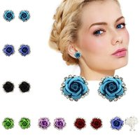 Wholesale different colors flowers for sale - Group buy New Fashion accessories earrings alloy different colors flower rose rhinestone earrings ladies children girls earrings T6C115