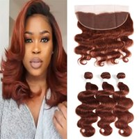 boucle de dentelle brun achat en gros de-Dark Auburn Cheveux Humains Brésiliens 3 Bundles avec Dentelle Frontale Fermeture Colour # 33 Brown Body Wave Vierge Cheveux Vierges Avec Full Frontals