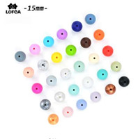 Wholesale Wood Beads 15mm - 100pieces lot Silicone Beads Baby Teething Beads 15mm Safe Food Grade Nursing Chewing Round Silicone Beads