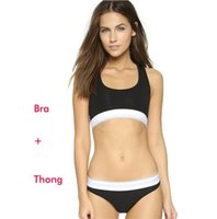 Wholesale sexy g strings bras - Cheap Sets Brand Designer Women Tracksuit 2 pieces Sexy Ladies Swimwear West Bra Suits + Thong G-Strings Underwear