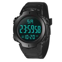 alarme de data venda por atacado-Esporte Homens Relógio À Prova D 'Água Moda Digital LED Quartz Alarm Data Sports Relógio De Pulso Multifuncional Horas Relógio