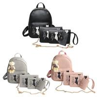 sacs à dos imprimés chat achat en gros de-4pcs / Set Femmes Chat PU Cuir Impression Sac à dos Composite Sac Bookbags École Sac à dos Étudiant Sacs pour les adolescentes Bagpack