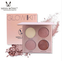 Wholesale miss rose palette - MISS ROSE 4 Colors Makeup Highlighter Powder Palette Contouring Natural Facial Velvety Highlight Powder Face Concealer Glow Kit