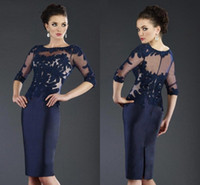 Wholesale wedding columns for cheap online - 2019 Janique Mother Of The Bride Dresses Navy Blue Lace Applique Gowns For Mothers Groom Cheap Half Sleeve Wedding Guest Dress BA9617