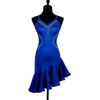 vestido azul con flecos latinos al por mayor-Azul trajes de baile moderno para las mujeres vestido latino baile latino rumba vestidos de baile franja salsa latina vestido de las mujeres ropa de baile latino