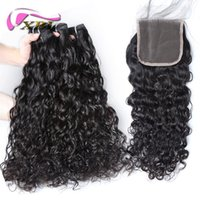 Wholesale lace closure top piece - xblhair water wave brazilian hair 3 bundles remy human hair extensions and 4by4 top lace closure