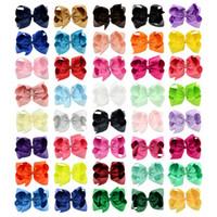 horquillas grandes al por mayor-40 colores 6 pulgadas moda bebé cinta arco horquilla Clips niñas Bowknot grande Barrette Kids Hair Boutique Boutique niños accesorios para el cabello KFJ125