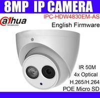 kamera sd ir ip toptan satış-Dahua Orijinal 8MP POE IP Kamera IPC-HDW4830EM-AS İngilizce Firmware 4mm lens IR 50 m Güvenlik Kamera Dahili Mikrofon Desteği SD Kart