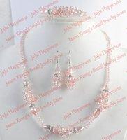 одно серьги ожерелье серьги оптовых-one set Handmade Pink AB Crystal Glass  Jewelry Set Necklace,Earring and Bracelet 258
