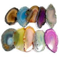 Wholesale Geode Slices - Hot Artificial Agate Slices Geode Polished Slab Craft DIY Pendant Randomly Picked