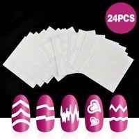 ingrosso carta bianca-ELECOOL 24pcs Autoadesivo adesivo di carta per unghie Consigli di arte Decorazione fai-da-te Bianco Rotoli Striping Tape Line French Nail Sticker Paper