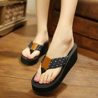 Wholesale Muffin Sandals - Summer flip-flops beach slippers, slippers with high heels, slippers, muffins and sandals with thick soles