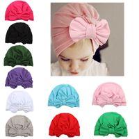 Wholesale turban headband wrap cap - newborn elastic baby head wrap infant turban toddler baby girl knot headbands cap