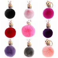 Wholesale Wholesale Owl Handbags - 11 Colors 13cm Women Rabbit Fur Ball Keychain Rhinestone Owl Handbag Accessories Key Chain Pompom Bag Accessory CCA9036 50pcs