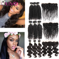 Wholesale silk lace frontal hair resale online - Hot Peruvian Brazilian Virgin Human Hair Extensions Body Wave Straight Silk Straight Hair Weave lace frontal bundles Bundles with Frontal