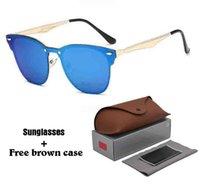 ingrosso case in alluminio per la vendita-Alta Quailty più nuova vendita calda alluminio magnesio occhiali da sole uomini donne di marca occhiali da vista specchio occhiali sportivi con scatola e casi