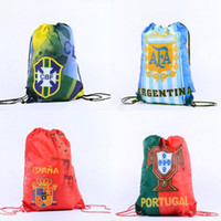 Wholesale camp sack - 2018 World Cup Drawstring Bag Outdoor Backpack Storage Bags High Capacity Sports Fan Activities Gifts NNA111