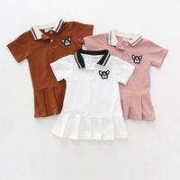 Wholesale natural puppy - Baby girls Turn down Collar ruffles dress causal children short Sleeve Puppy embroidery dresses summer 2018 Boutique kids Clothes C4014