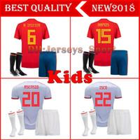 Wholesale boys shirts sale - Top Spain kids Jersey 2018 RAMOS ISCO PIQUE SERGIO A. INIESTA M. ASENSIO THIAGO MORATA home soccer shirt Football uniforms sales Spain kits
