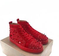 ingrosso abiti da sposa brillanti-Top designer rosso suola sneakers in pelle beige rivetto luminoso scarpe casual da uomo scarpe da sposa scarpe casual