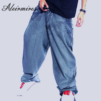 pantalones anchos de los hombres de la pierna s al por mayor-Hombre Retro Baggy Jeans Vintage Clothing lavado Hip Hop Denim Pants Skateboarder Jeans Letters Impreso Wide Leg Hiphop