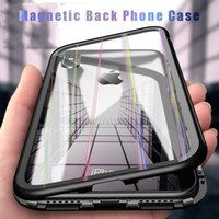 Wholesale metal phone cases online - Magnetic Back Phone Case for IPhone7 Case X Plus Clear Tempered Glass Built in Magnet Case for IPhone s Metal Cover