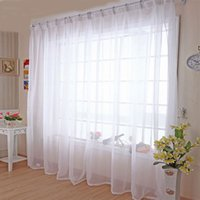 paneles transparentes blancos al por mayor-Cocina Tulle Cortinas Translucidus Modern Home Window Decoration White Sheer Voile cortina para Living Room Single Panel