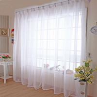 casa cortina blanca al por mayor-Tul cocina Cortinas translucidus hogar moderno Decoración por la Ventana blanca pura gasa de la cortina para la sala de estar solo panel