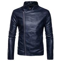 ingrosso moda giovani uomini neri-Giacca in pelle da uomo Giacca in pelle da uomo Slim Fit Zipper Blazer per ragazzi US Fashion Style Blue Black