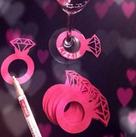 ingrosso decorazioni da tavolo da party-Carte di carta tagliate al laser Diamond Ring wedding Wine Cup Card decorazioni per la tavola di nozze Fidanzamento Baby Shower Decorazioni per feste