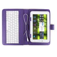 tableta púrpura pc al por mayor-GTFS-Hot Color Purple Cubierta de piel sintética + Teclado MICRO USB Jack + Soporte universal para Tablet PC 7