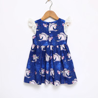 Wholesale beautiful unicorn - Unicorn dress girl blue color full Unicorn print dress flying sleeveless round collar Unicorn girl dress Baby & Kids Clothing beautiful