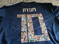 camisas de japão venda por atacado-Camisas de camisa de futebol azul do Japão em casa de Atom Japão 2018, Atom camisas de Jersey de futebol azul do Japão em casa, 2018 capitão Tsubasa de qualidade tailandês